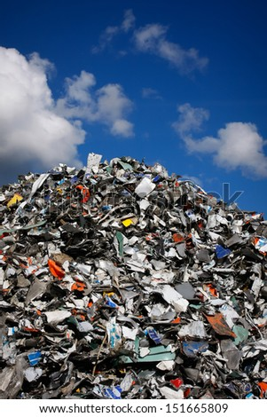 Pile of waste for recycling or safe disposal, any logos and brand names have been removed. Great for recycle and environmental themes. - stock photo