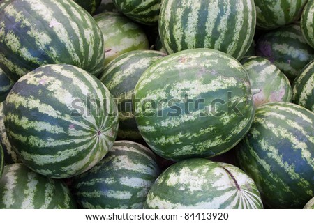 Pile of Watermelons for Sale at Famers Market - Perfect for Use as Background Texture