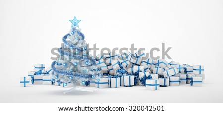 Pile of white and blue christmas presents and christmas tree isolated on white background. Concept image for christmas (x-mas) or weddings. 3d Rendering. - stock photo