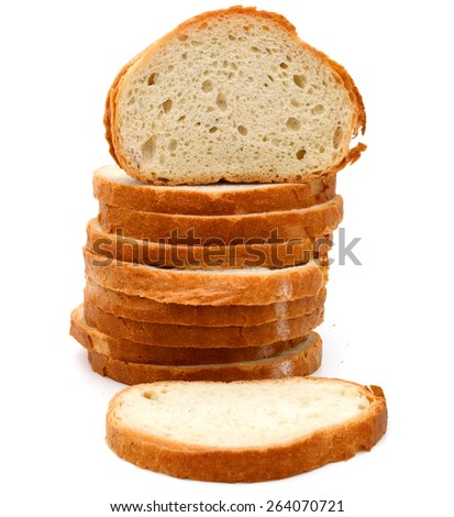 pile of white bread slices on white background