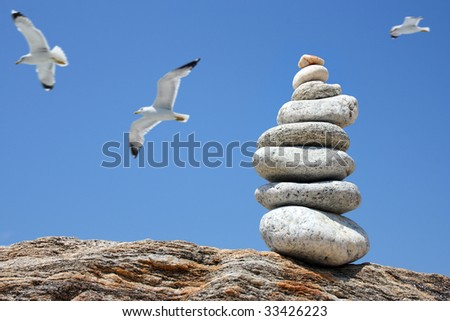 pile of white stones on a rock with a blue sky and seagulls in the background