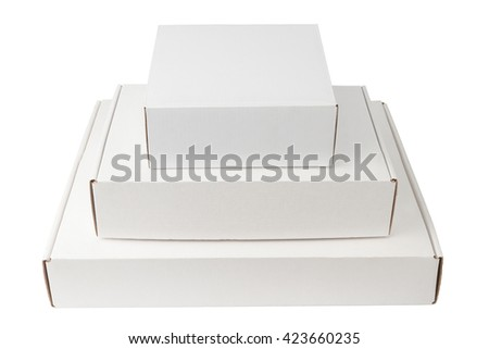 Pile of white thin cardboard boxes isolated on white background