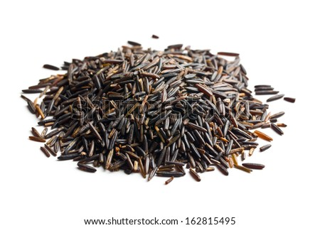 pile of wild rice on white background
