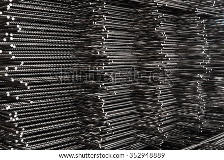 Pile of wire mesh., Reinforcement material of concrete pouring. / Depth of field concept. Selection focus to texture of material. - stock photo