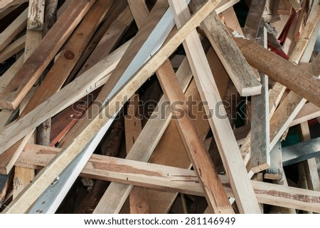 Pile of wood for construction