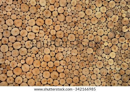 Pile of wood logs stumps background - stock photo