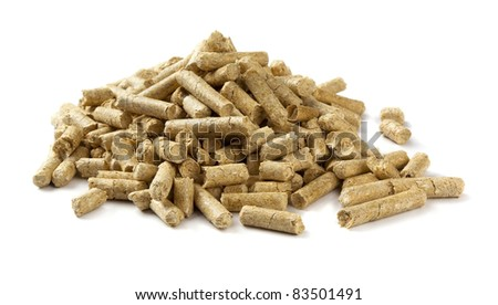 Pile of wood pellets isolated on white - stock photo
