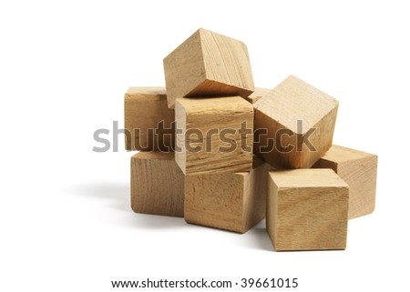 Pile of Wooden Blocks on White Background
