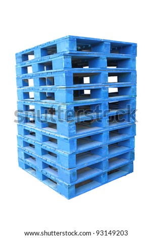 Pile of wooden blue palette on white background. - stock photo