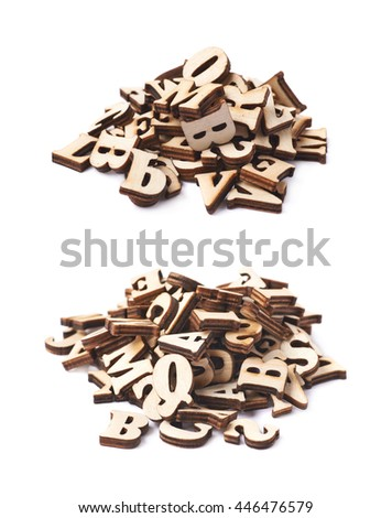 Pile of wooden letters isolated over the white background, set of two different foreshortenings - stock photo