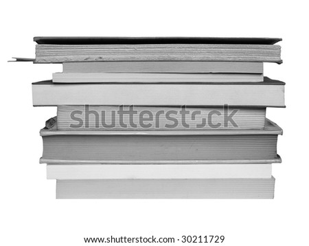 Pile or stack of books over a white background