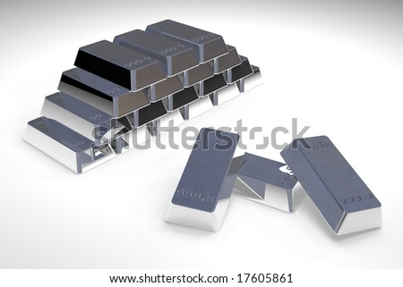 Pile os silver bars in white background.
