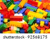 pile plastic toy blocks - stock photo
