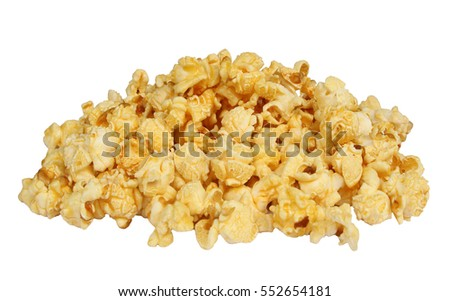 Pile popcorn isolated on the white background