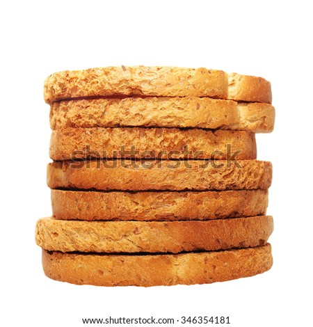 pile rusks with wholewheat flour, bread sliced isolated, whole wheat dry rusk bread, wholemeal bread isolated on white background - stock photo