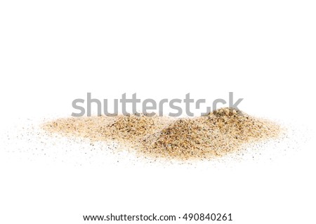 pile sand isolated on white background and texture