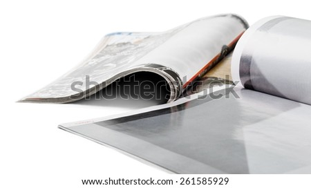 Pile. selective focus image, magazines - stock photo