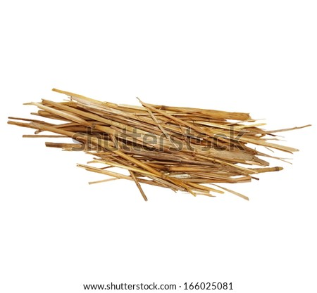 pile straw isolated on white background, with clipping path - stock photo