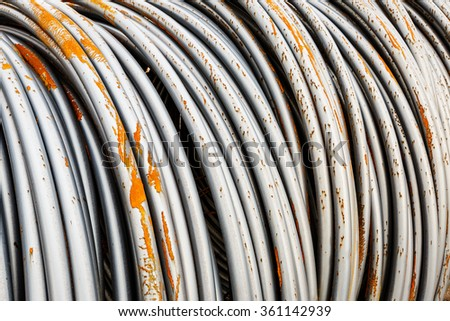 Pile up clutter metal steel wire in Steel mills - stock photo