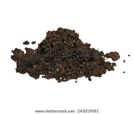 pile wet dirt isolated on white background - stock photo