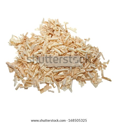 pile wood shavings and board isolated on white, with clipping path - stock photo