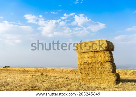Piled hay bales on a field against blue sky with clouds. - stock photo