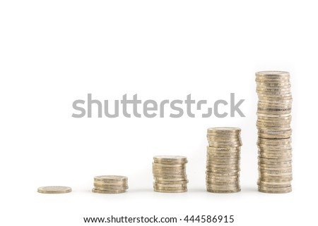 piles coin on white background