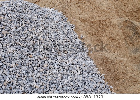 piles gravel and sand for construction - stock photo