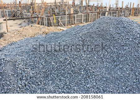 piles gravel for construction industry - stock photo