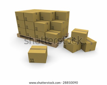 piles of cardboard boxes on a pallet - stock photo