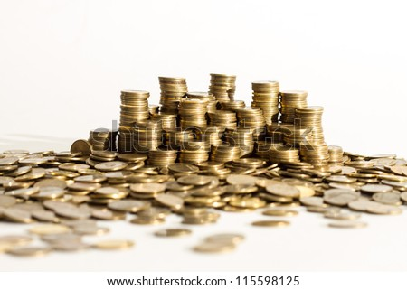 Piles of coins. - stock photo