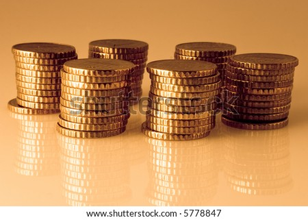 Piles of coins - stock photo