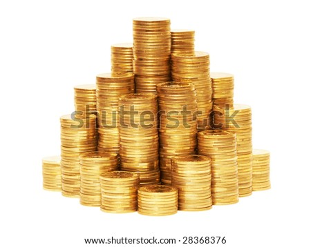 Piles of coins isolated on the white background. - stock photo
