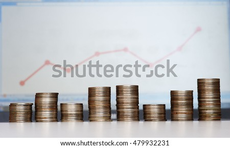 Piles of coins of different height and diagram