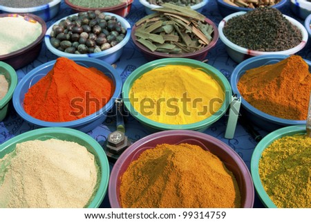 Piles of colorful spices, Anjuna market - India - stock photo