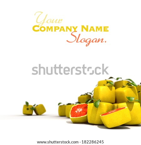 Piles of cubic grapefruit on a white background - stock photo