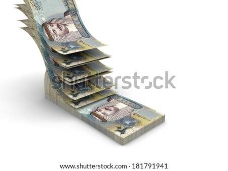 piles of 3D Bahraini money falling and stacking in top of each other isolated on white background - stock photo