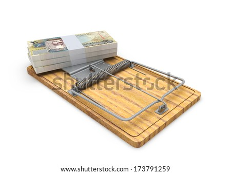 Piles of 3d Bahraini Money on mousetrap isolated on white background