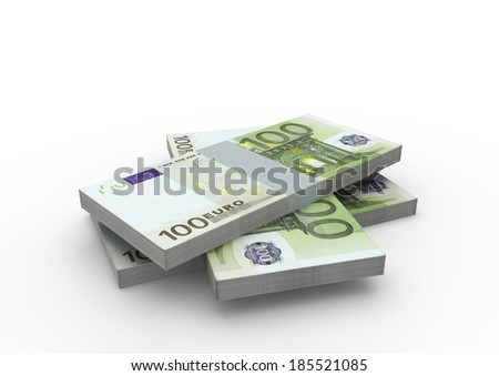 Piles of 3D Euro money isolated on white background - stock photo