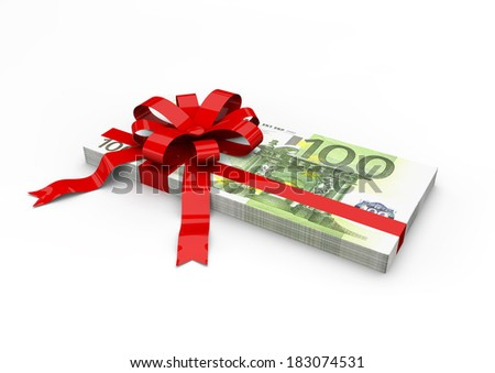 Piles of 3D Euro wrapped money with red ribbon isolated on white background - stock photo