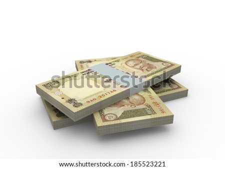 Piles of 3D Indian money isolated on white background - stock photo