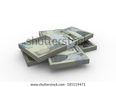 Piles of 3D jordanian money isolated on white background