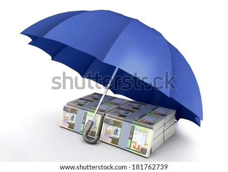 piles of 3D Kuwaiti money under blue umbrella isolated on white background - stock photo
