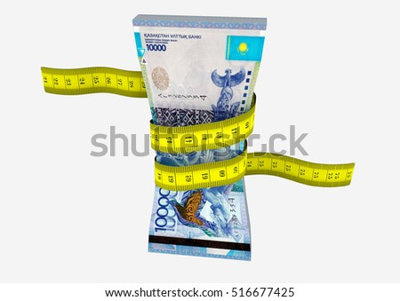 piles of 3D Rendered Kazakhstan money with with yellow measure tape isolated on white background