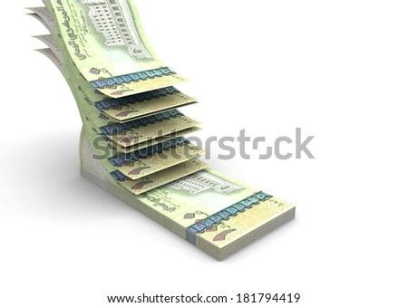 piles of 3D yemeni money falling and stacking in top of each other isolated on white background - stock photo