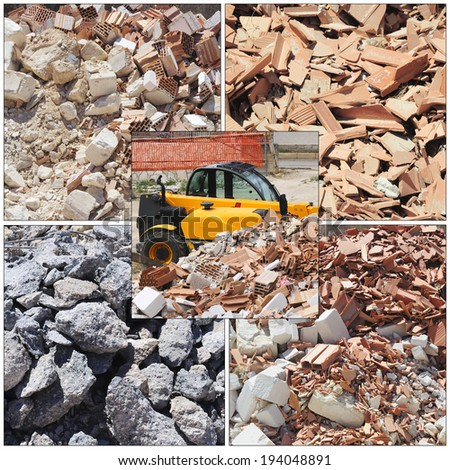 piles of dirt and busted-up rubble at a construction site - stock photo