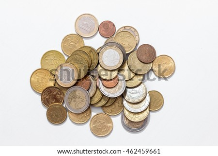 piles of Euro coins isolated