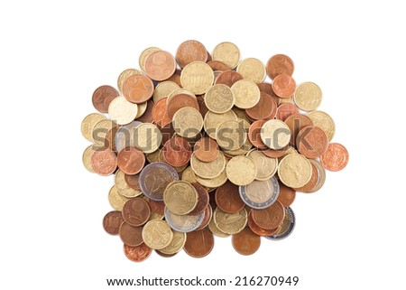 piles of Euro coins isolated on white background  - stock photo