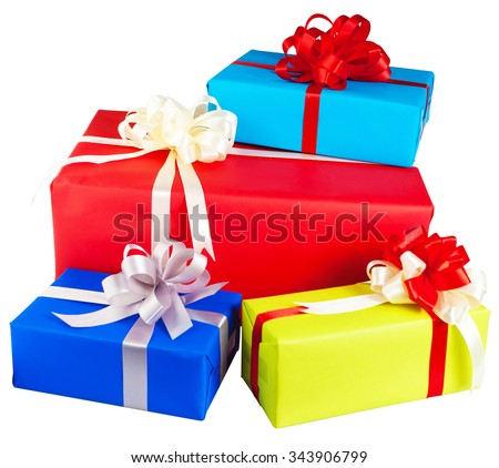 Piles of gift boxes wrapped in colorful paper, ribbon, bow ,Isolated on white. for anniversary, new year, birth day - stock photo
