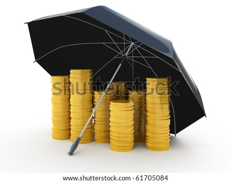 Piles of golden coins under an umbrella isolated on white - stock photo
